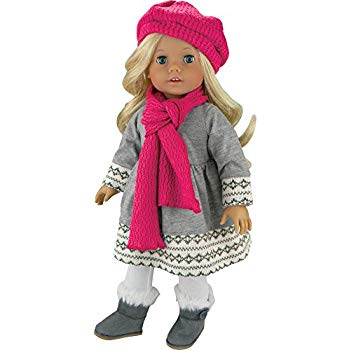 American Girl Doll Clothes Grey Fair Isle Sweater Dress
