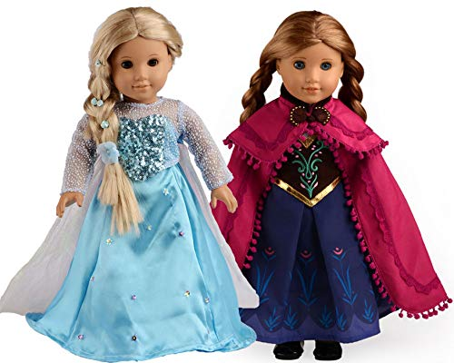 American Girl Doll Clothes sweet dolly Elsa and Anna Princess Costumes